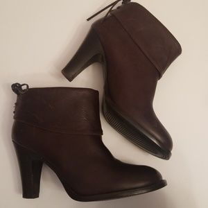 Bronx Dark Brown Thick Leather Ankle Booties